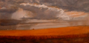 August Skies  oil 15 x30 Kansas