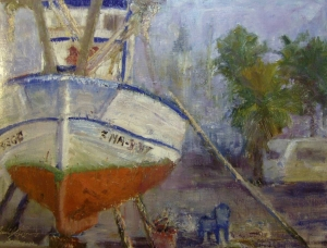 Dry Dock oil 11x14 plein air Torremolinos, Spain