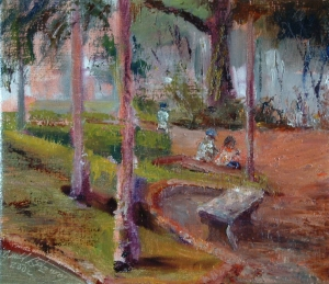 Empty Bench oil 11x14 plein air Malago, Spain