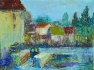 French Mill oil 11x14 plein air Loire Valley, France