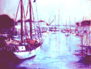 Harbor Glow  oil 16x20 Camden Harbor, Maine