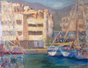 Marina El Triburon oil 16x20 plein air Costa de Sol, Spain