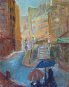 Memories of Mouffetard oil 14x11 plein air Paris, France