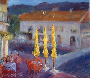 Yellow Umbrellas oil 11x14 plein air Meijas, Spain
