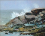 RESTLESS SEAS oil 16x20 plein air Acadian, Maine