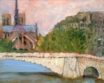 View from Pont Sulley oil 11x14 plein air Paris, France
